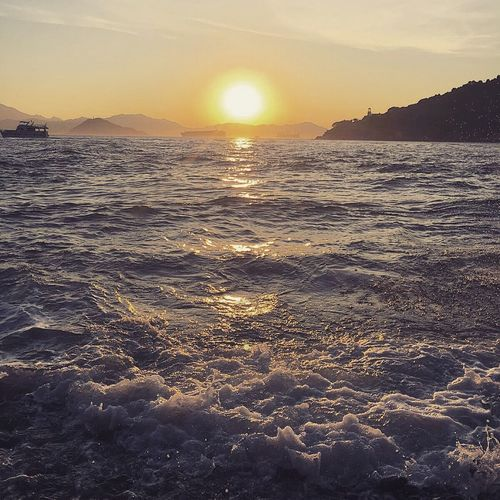 Sunset Sea And Sky Seascape Seaside Relaxing Enjoying Life Sun Color Of Life Nature Waves Waves, Ocean, Nature Beauty In Nature Tranquility Traveling