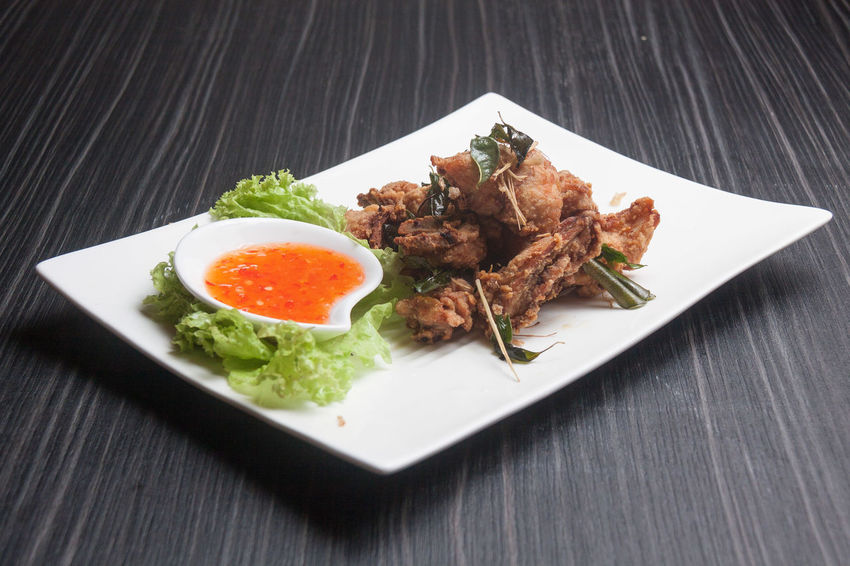 Thai Deep-Fried Chicken Gai Tod Thai Deep Fried Chicken Thai Fried Chicken Close-up Food Food And Drink Freshness No People Plate Ready-to-eat Serving Size Table Thai Food