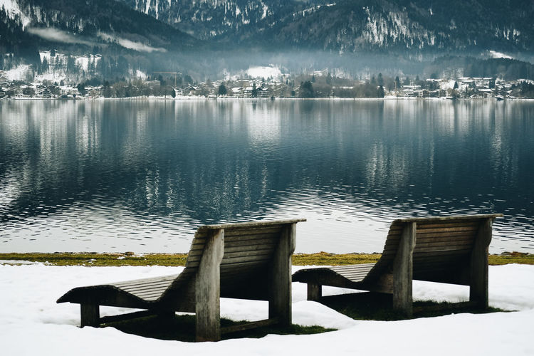 Winter vacation Water Lake Tranquility Tranquil Scene Beauty In Nature Nature Scenics - Nature No People Non-urban Scene Idyllic Reflection Day Wood - Material Outdoors Seat Winter Vacation Vacations Vacation Winter Wonderland Winter Wintertime Relaxing Calmness Calm Bench Pier Cold Temperature Empty Lakeshore
