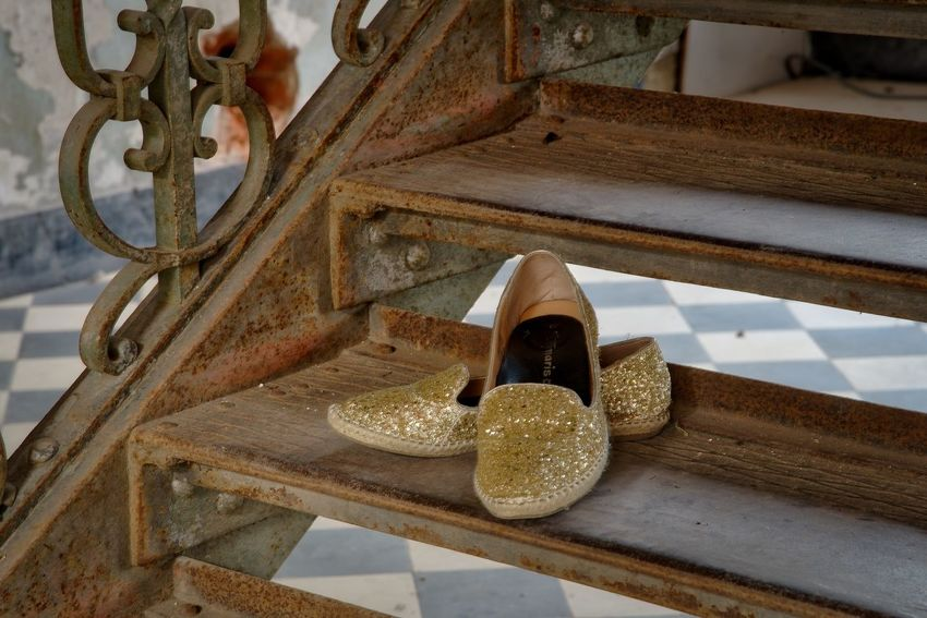 Cinderella lost Close-up Day High Angle View Indoors  Iron Stairs No People Shoes ♥ Wood - Material