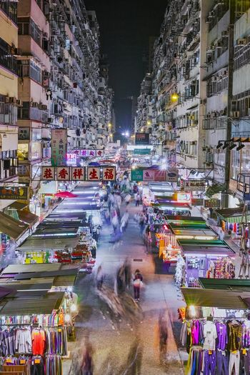 People come and go. Building Exterior Illuminated Night City Architecture Long Exposure Blurred Motion HongKong Photography Rooftop Mongkok