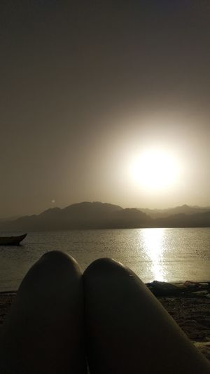 Relaxing Dahab Dahab Red Sea RedSea Dahab Red Sea Sinai Egypt Sinaimountain Traveling View Freshness Sand Air Details Inspire Sea View Water Sea Beach Sunset Reflection Sunlight Sky Horizon Over Water Calm Shore Shining Sunbeam Scenics Coast Sun Mountain Range