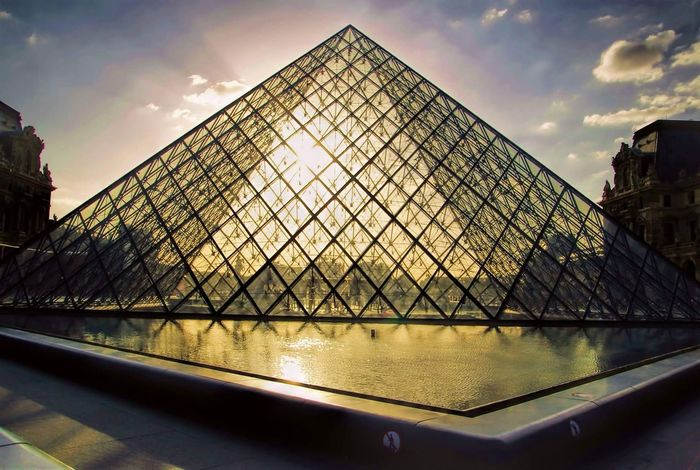 France Paris Pyramid Architecture Building Exterior Built Structure City Day Modern No People Outdoors Pyramid Sky Sunset Travel Destinations