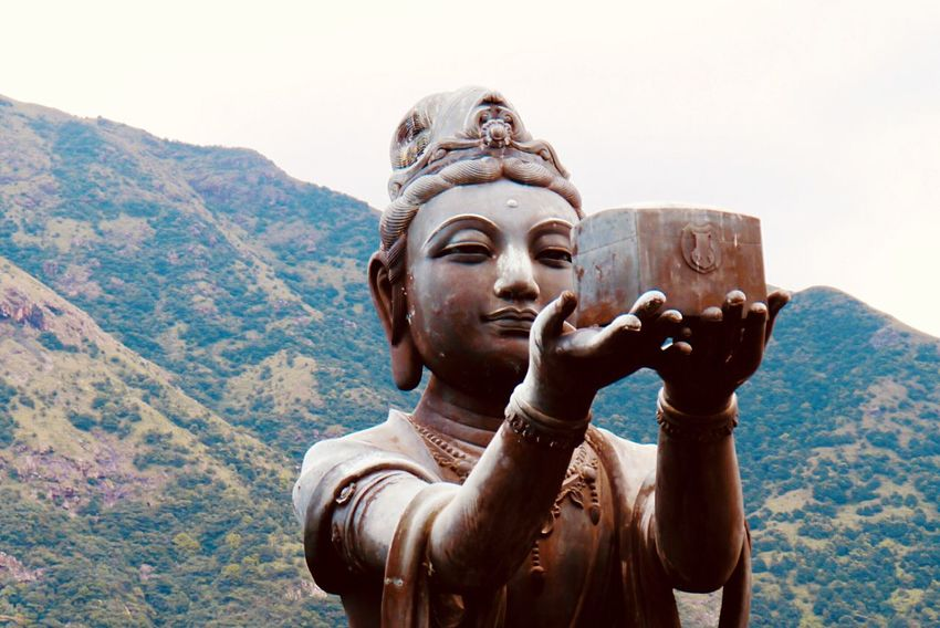 One of the six Devas - Ointment offering Ointment Buddhism HongKong Temple Travel Destinations Sculpture Statue Human Representation Representation Male Likeness Art And Craft Religion Belief Spirituality Sky Clear Sky Day Mountain Nature Place Of Worship No People Outdoors Idol