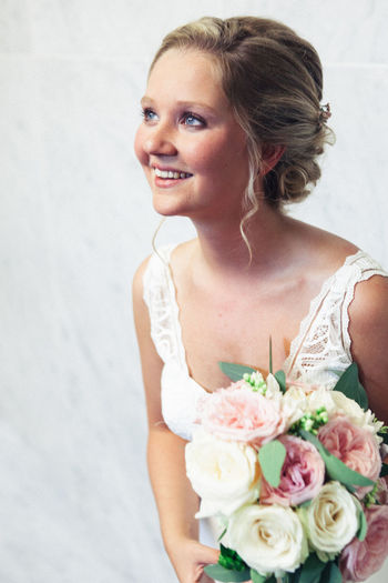 Beautiful Woman Blond Hair Bouquet Bride Celebration Close-up Day Flower Freshness Groom Holding Indoors  Life Events One Person Real People Rose - Flower Standing Wedding Wedding Dress Women Young Adult Young Women