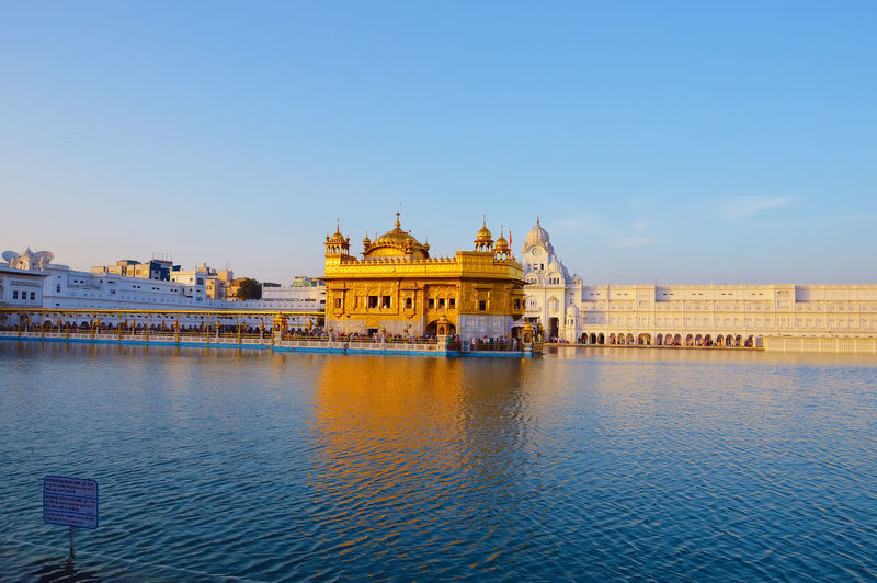 Beautiful view of golden temple against sky in amritsar, punjab