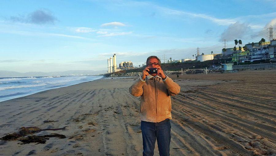 Dueling phones! Gotcha, now play dead! Beachphotography Cameraphone El Porto Sunrise