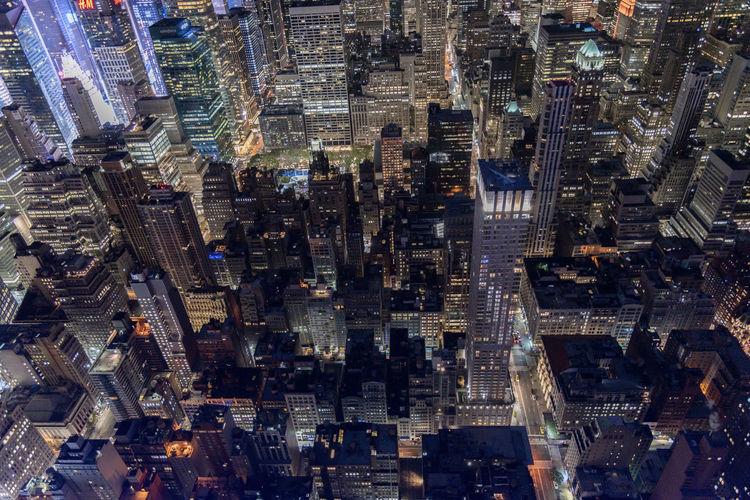 Aerial view of manhattan new york city, night.