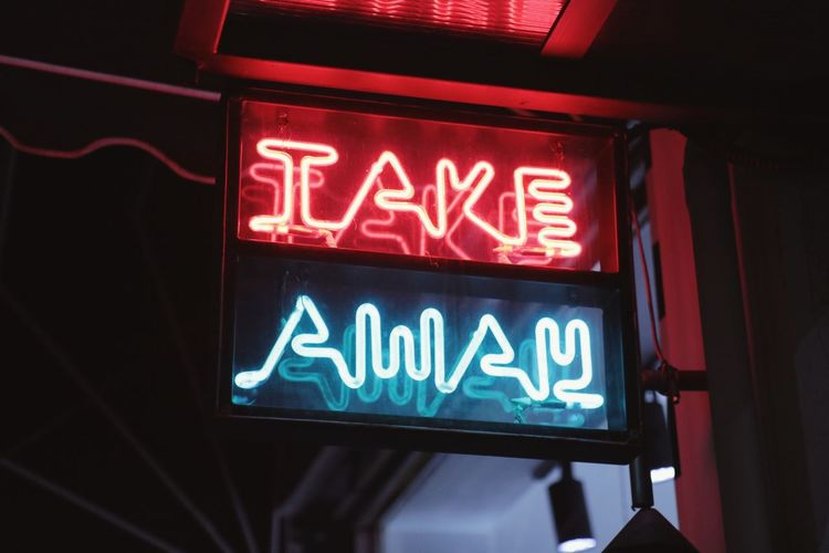Take away Food Takeaway Sign Neon Lights Light Neon Western Script Text Communication Low Angle View Illuminated Night Neon No People