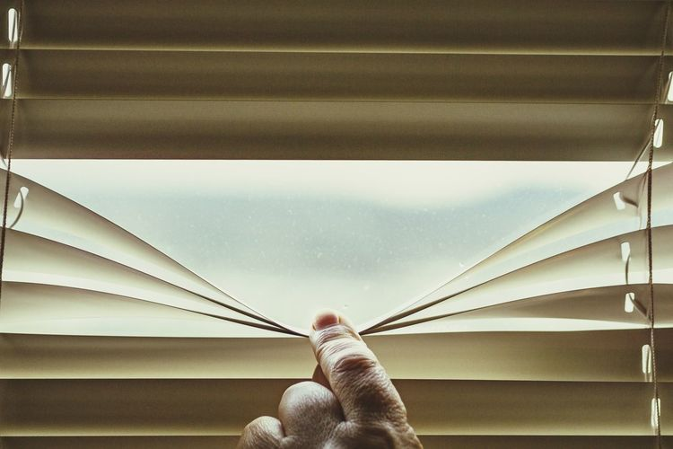 Cropped hand of person holding window covering