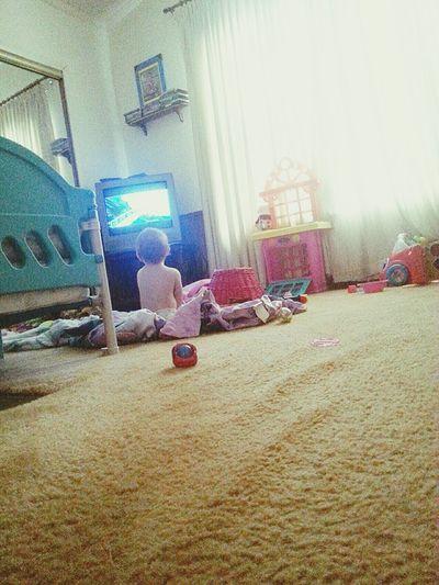He was quiet for 30 minutes, found him sitting watching Frozen! ??❄⛄❤ Declan Avery