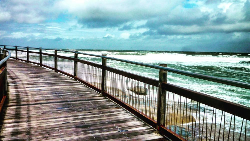 Storm is coming Railing Sea Sky Water Cloud - Sky Nature Beauty In Nature Outdoors Horizon Over Water Day No People Scenics Caloundra Queensland Wave Beach Stormy Weather Storm