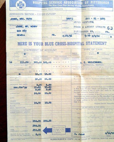 Old Hospital Bill 1950s Bill