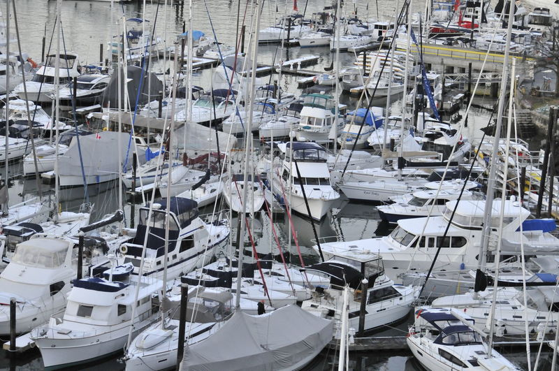 Panoramic view of moored boats