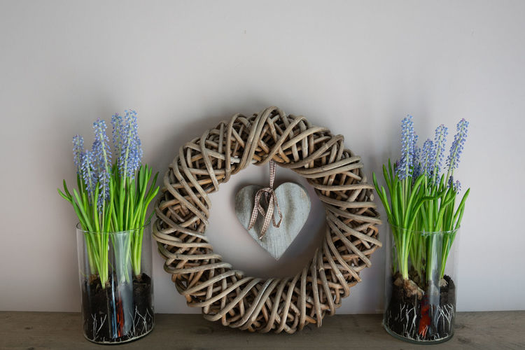 home decoration. Wreath with a wooden heart inside and 2 vases next to it with a grape hyacint inside. Plant Flower Indoors  Flowering Plant Nature Easter Freshness Vase Potted Plant Still Life Vulnerability  Close-up Flower Head Flower Pot Flower Arrangement Fragility Heart Grape Hyacinth Spring Interior Decorating Decoration Wreath Wooden Heart Wooden Springtime Decadence