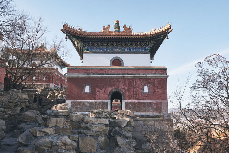 Summer Palace China Winter Morning Architecture Built Structure Building Exterior Tree Building Day Sky Nature Plant Travel Destinations Low Angle View Roof The Past History Clear Sky Bare Tree Religion No People Eaves Outdoors Stone Wall