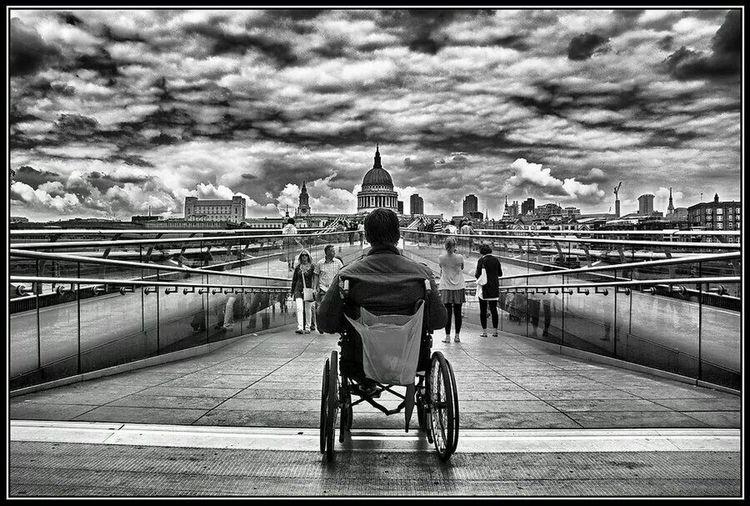 London Millenium Bridge Poor  Poorpeople Poorman St Paul's Cathedral Stpauls St Pauls Cathedral Thames River Thames