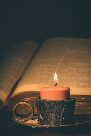 Afrikaans Beliefs Bible Candle Candlelight Close Up Darkness And Light Eerie Night Relegion Spirituality Vintage