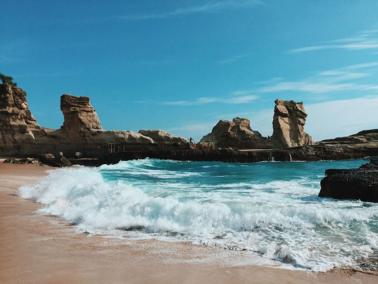 Beach Beach And Sky Blue Sky Cliff Coastline Landscape Nature Outdoors Rock Rock - Object Rock Formation Rocky Scenics Travel Vacation Water And Sky Wave Waves Blue Wave
