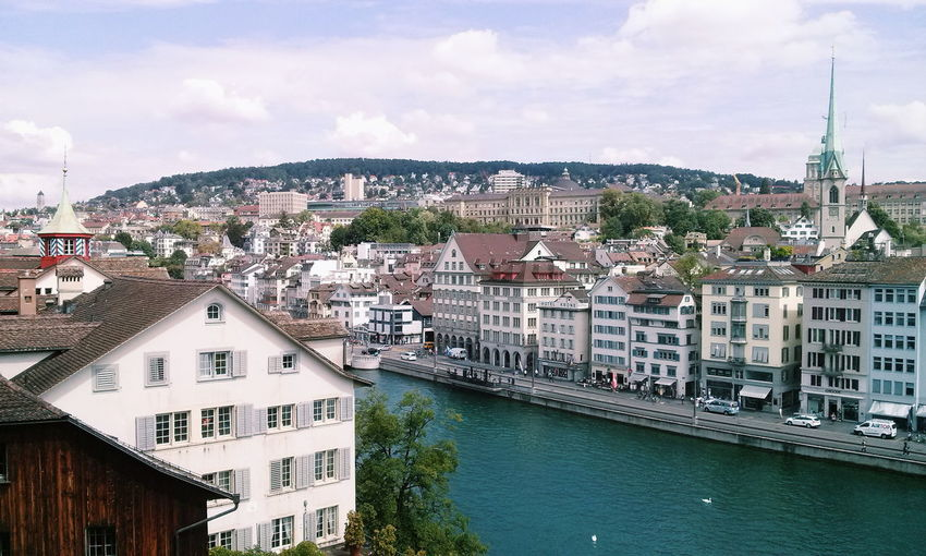 Travel Destinations Cityscape Architecture City Sky Building Exterior Cloud - Sky Travel Business Finance And Industry Outdoors Bridge - Man Made Structure Urban Skyline Water No People Tree Day Switzerland Zürich Zurich, Switzerland River City City View  Blue Houses Houses And Windows