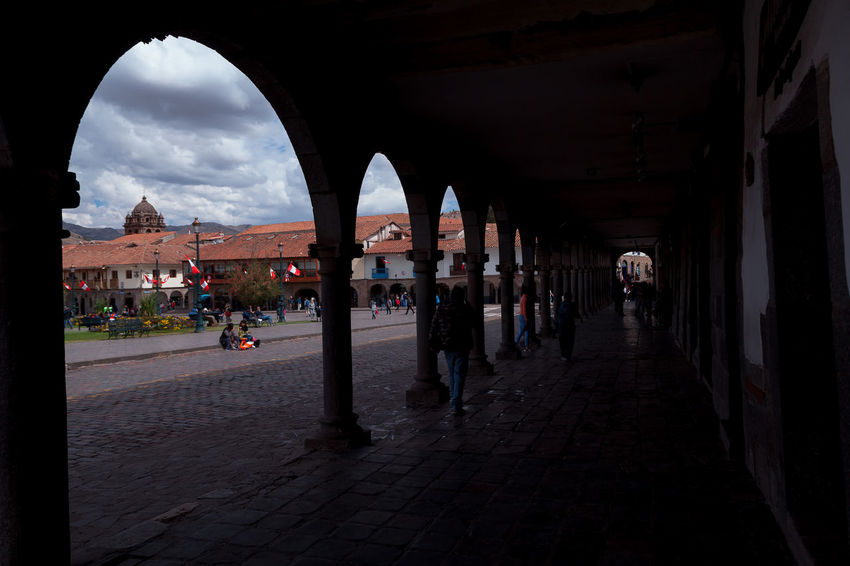 Cusco Arcades Colonial Plaza Arcadas Architecture Built Structure Arch Building Exterior Direction The Way Forward Incidental People Building Cloud - Sky City Architectural Column Group Of People Sky Real People Nature Day Street History The Past Colonnade