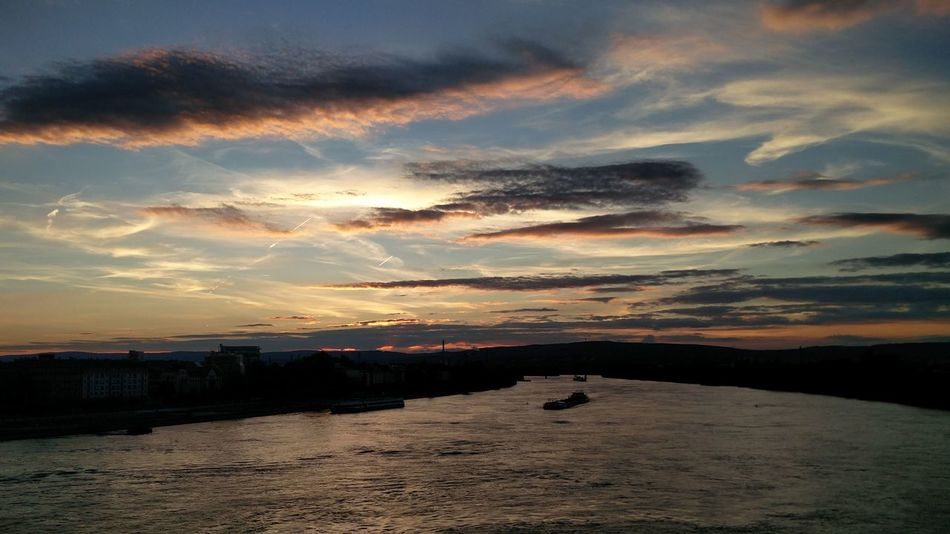 Sunset Sonnenuntergang Rhein Mainz Theodor-Heuss-Brücke Rhine River
