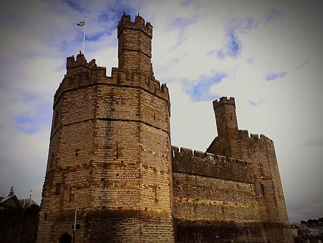 Architecture Building Exterior Built Structure Low Angle View Sky Castle History Tower Fortified Wall Fort No People Cloud - Sky Outdoors Day Medieval Clock Tower caernarfon