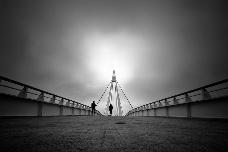Blackandwhite Fine Art Photography Black And White People Walk City Bridge - Man Made Structure Sky Architecture Built Structure Cable-stayed Bridge