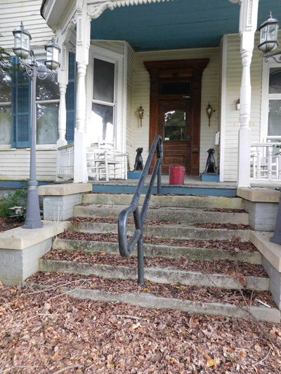Dog Statues Door Exterior Front Door Front Porch Lamppost Leaves🌿 Old Building  Railing Red Bucket Steps Windows Chairs Porch Lights