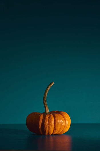 Close-up of pumpkin against blue background