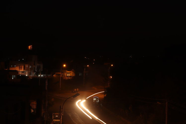 Light Trails darkness and light Cityscape Wide Angle View Bunglow Top View City Illuminated Red Light Traffic Light  Light Trail Headlight Vehicle Light Tail Light Light Painting