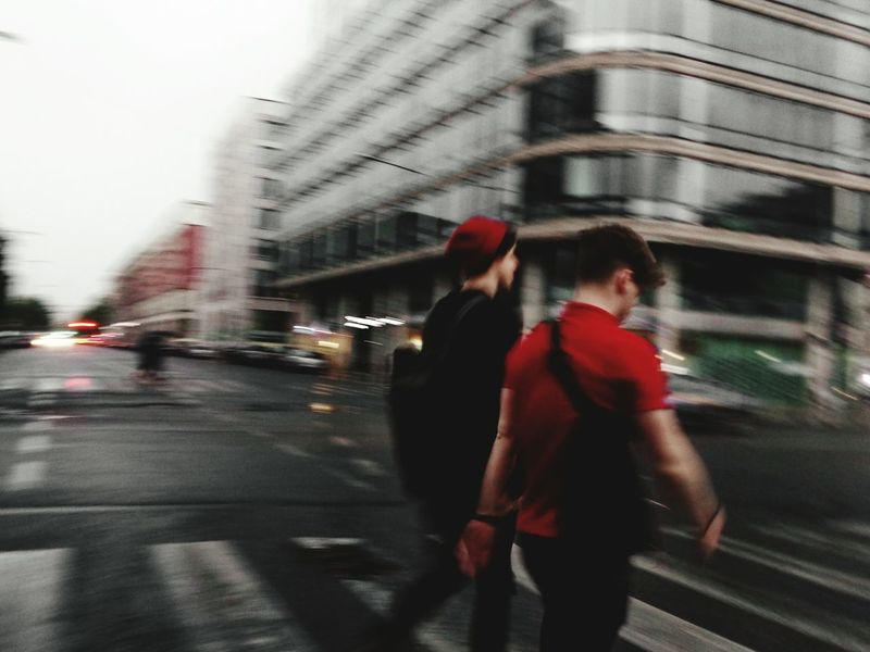 The Street Photographer - 2017 EyeEm Awards Street Blurred Motion Two People WalkingCity Motion Transportation Architecture Outdoors Adults Only Red City Full Length Men Rain Weather