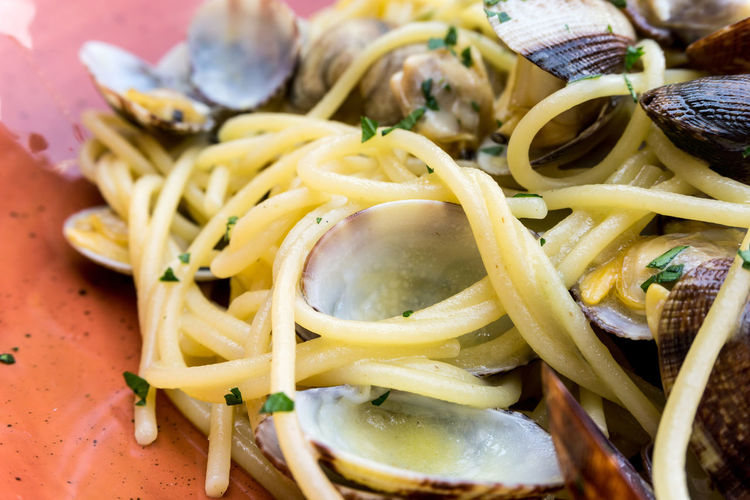 Close-up of noodles with clams served in plate