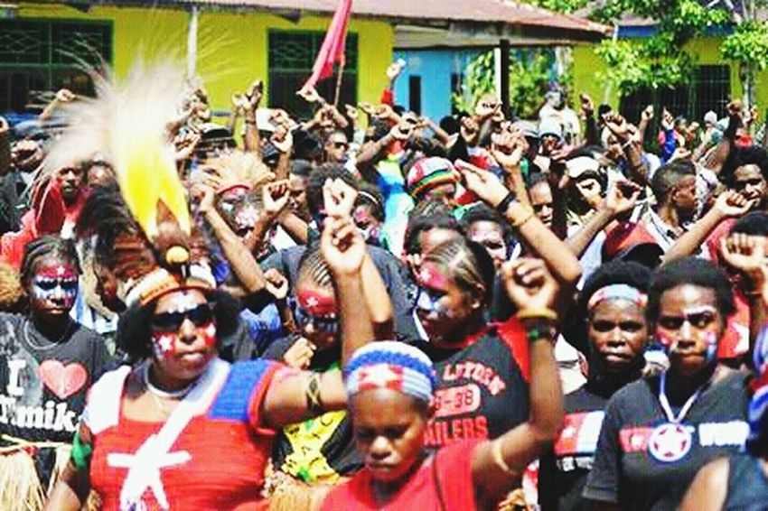 Celebration Large Group Of People West Papua Politic Of Freedom West Papua Want To Free Of Indonesia Colonial. Papua Free Of Indonesia Colonial West Papua People Social Issues Countrylife Patriotism