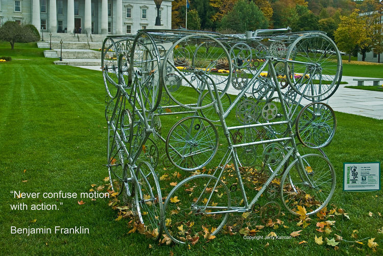 #Quotograph with a #BenFranklin quote and sculpture at state capitol, #Montpelier,VT Ben Franklin Montplier Motion Quotes Quotography Sculpture VT State Capitol Whimsey