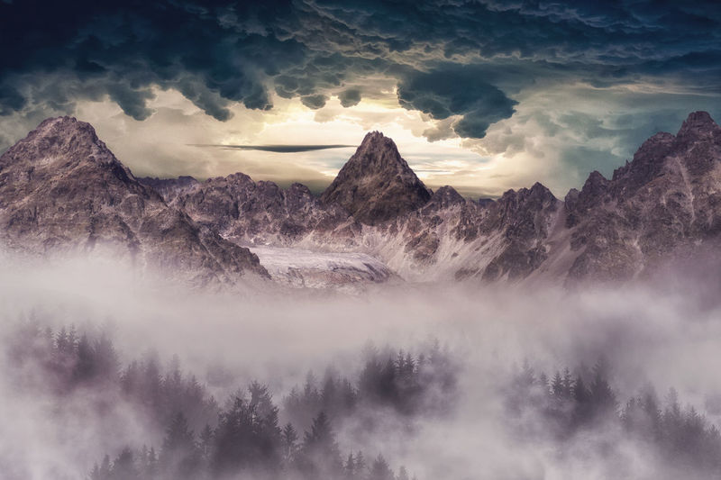 Mountain Landscape Cloud - Sky Sky Scenics - Nature Mountain Beauty In Nature Nature Mountain Range Landscape Mountain Peak Fog Outdoors Clouds Sun Berge Alpenglow Alpine Mist Forest Tree Pine Woodland Landschaft