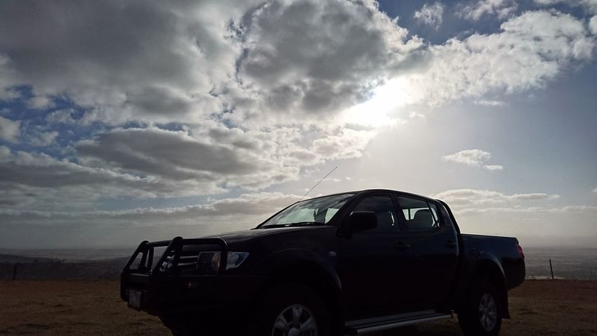Clouds Sky Hilltop Hilltop View Car Vehicle 4wd Cloudy Skies King Of The Hill Triton Sun Going Down What A View Peak My Toy Machine And Nature Perfect View Ute On A Hill Car On A Hill Truck Truck On A Hill One Tree Hill Lookout Lookup Ground Level View