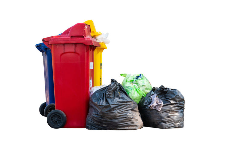 White Background Plastic Container Recycling Red Garbage Bag Plastic Bag Group Of Objects Cut Out