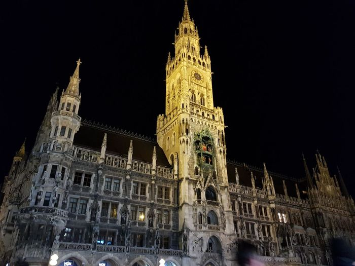 Marienplatz City Illuminated Christmas Decoration History Ornate Architecture Building Exterior Tower Clock Tower