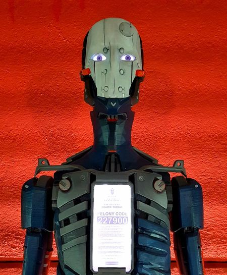 artificial intelligence robot droid Red Background Robot Thermal Printed Thermal Printer Artificial Intelligence Artificial Life Droid Future Future Vision Future Generation Technology Cyborg Automatic Cyberspace Binary Code Alien Automated Robotic Arm