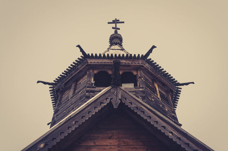 Old wooden church built without nails in Russia Architecture Built Structure Building Exterior Low Angle View Building No People Religion Belief Place Of Worship History Tower Travel Destinations Russia Wooden Church