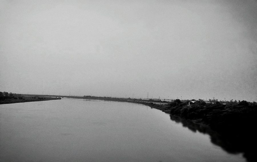 Blackandwhite Rivers River View River Collection Yamuna Rivers Of India Waterfront Landscape Evening Sky