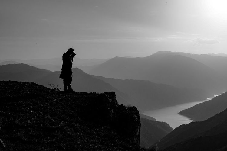 Photographer at the top of the world Kozjak Mountain Real People Beauty In Nature Scenics - Nature Leisure Activity One Person Sky Lifestyles Standing Tranquil Scene Full Length Non-urban Scene Tranquility Mountain Range Nature Vacations Trip Holiday Silhouette Outdoors Blackandwhite Black And White Black & White 50 Ways Of Seeing: Gratitude The Modern Professional A New Perspective On Life Capture Tomorrow 2018 In One Photograph