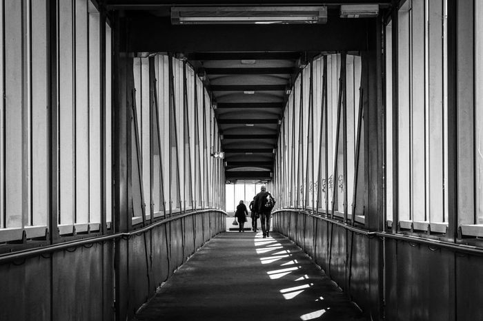 pedestrian bridge Architectural Column Architecture Berlin Pattern Pieces Building Exterior Built Structure Colonnade Composition Flooring Fußgängerbrücke In A Row Indoors  Leading Light Men Pedestrian Perspective Pillar Schattenspiel  Shadow Spandau Street Urban Walking Women