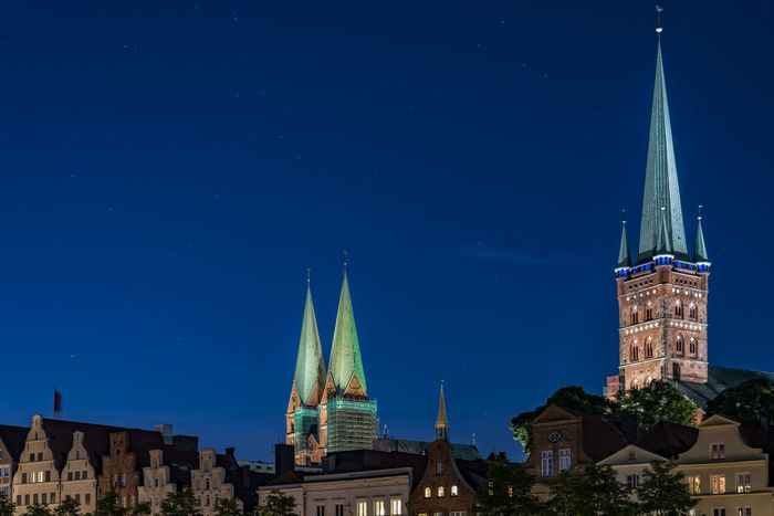 Church towers Ancient Architecture Astronomy Blue Sky Business Finance And Industry Church Towers City Cityscape Clock Night No People Old Town Outdoors Religion Sky Star - Space Tradition Travel Destinations Urban Skyline