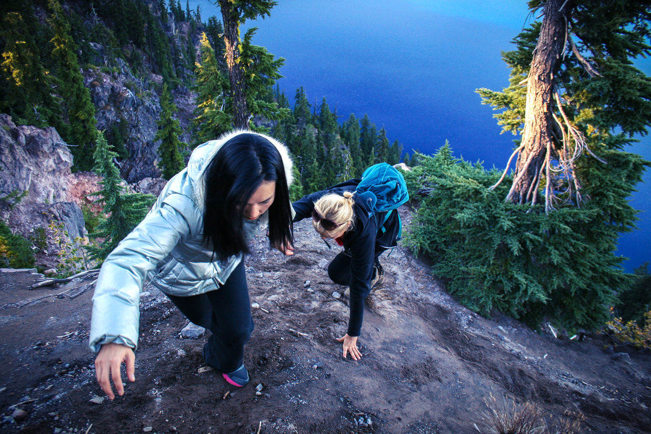 High angle view of friends hiking at crater lake national park
