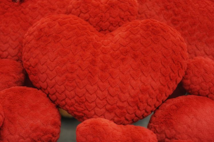 """Red heart pillow """"I Love you"""" Red No People Indoors  Full Frame Close-up Day"""