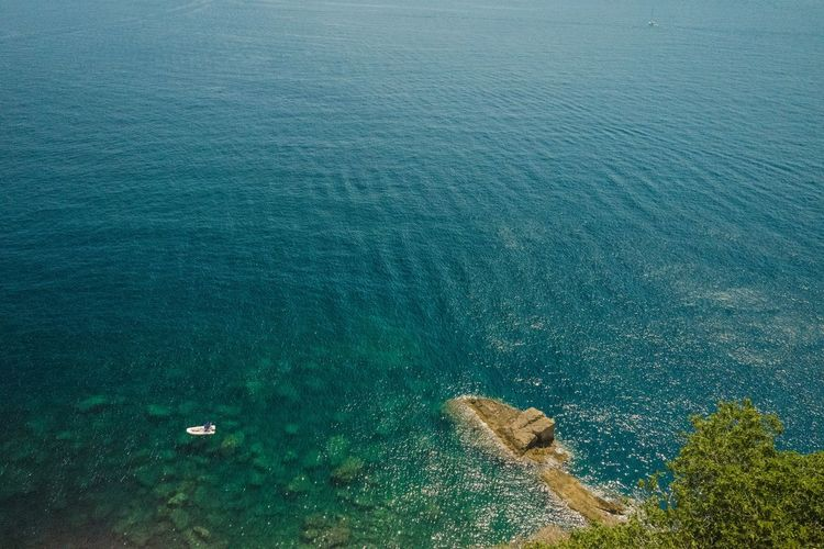 High angle view of sea seen from procida