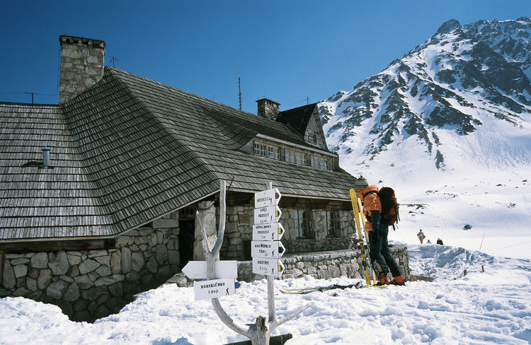 Architecture Building Exterior Clear Sky Cold Temperature Day Dolina Pięciu Stawów Frozen Mountain Nature One Person Outdoors People Poland Polen Shelter Ski Ski Holiday Ski Touring Ski Trip Skier Snow Snowboarding Tatry Warm Clothing Winter
