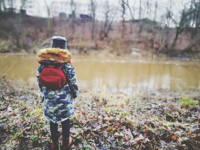 river stories #river #urban #red One Person Rear View Winter Warm Clothing People One Woman Only Only Women